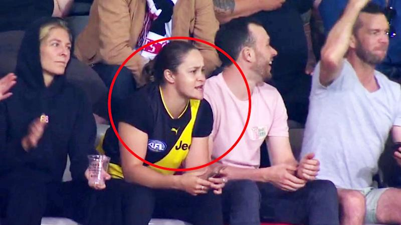 Ash Barty, pictured here watching on during Richmond's clash with St Kilda.