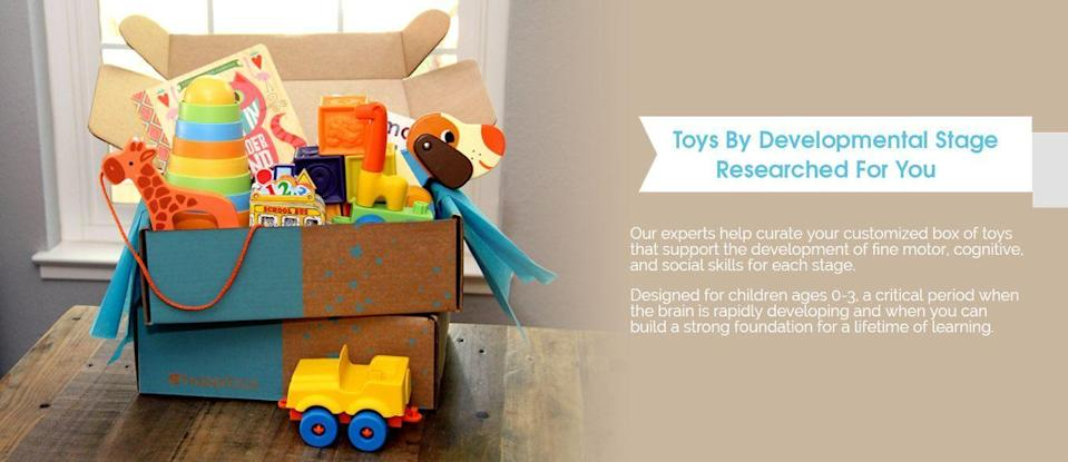 """<p>One thing that stresses out new parents is figuring out what toys are developmentally appropriate for their babies. Hoppi Box takes the work out of play, sending <strong>toys geared towards your baby's age and upcoming milestones</strong>, delivered quarterly. Each box comes with four or five goodies, tested by child-development experts.</p><p><em>$75+ every four months<br>Ages: 0–3</em></p><p><a class=""""link rapid-noclick-resp"""" href=""""https://www.hoppibox.com/"""" rel=""""nofollow noopener"""" target=""""_blank"""" data-ylk=""""slk:BUY NOW"""">BUY NOW</a></p><p><strong>RELATED: </strong> <a href=""""https://www.goodhousekeeping.com/childrens-products/toy-reviews/g5150/best-toys-for-two-year-olds/"""" rel=""""nofollow noopener"""" target=""""_blank"""" data-ylk=""""slk:The Best Toys and Gifts for 2-Year-Olds, According to Parents and Parenting Experts"""" class=""""link rapid-noclick-resp"""">The Best Toys and Gifts for 2-Year-Olds, According to Parents and Parenting Experts</a><br></p>"""