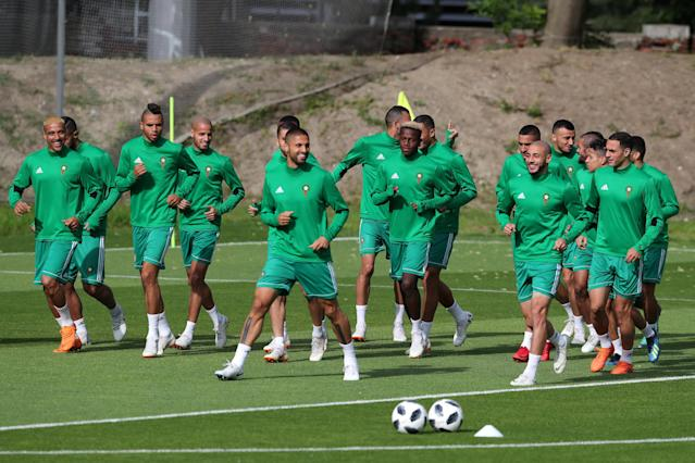 Soccer Football - World Cup - Morocco Training - Morocco Training Camp, Kaliningrad, Russia - June 24, 2018 Morocco players during training REUTERS/Mariana Bazo