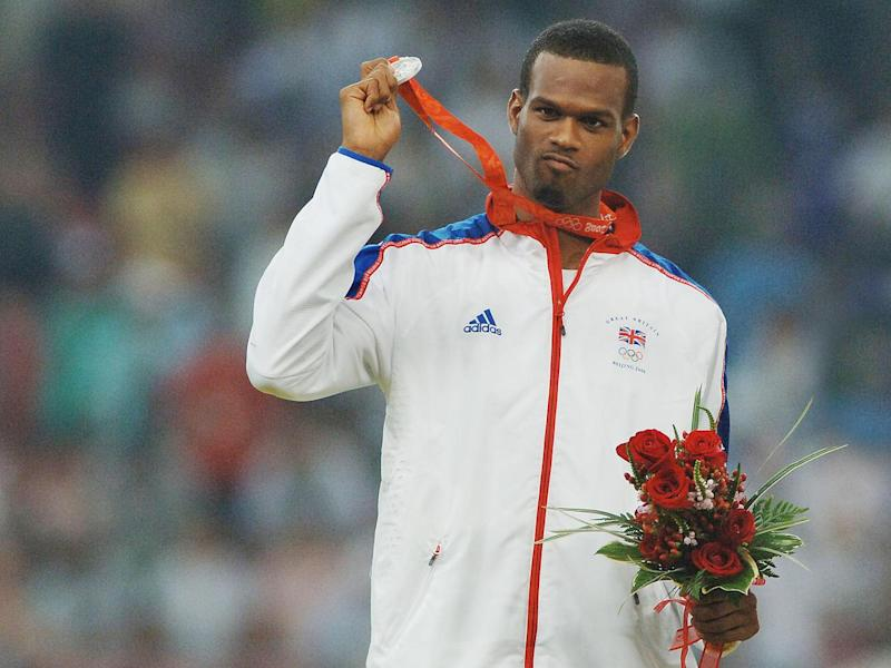 Germaine Mason (GBR) celebrates with his Silver Medal at the Beijing Olympics 2008 (Rex)