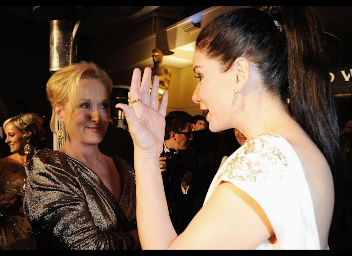 HOLLYWOOD, CA - FEBRUARY 26: Winner of Best Actress Meryl Streep and Sandra Bullock attends the 84th Annual Academy Awards Governors Ball held at the Hollywood & Highland Center on February 26, 2012 in Hollywood, California. (Photo by Kevork Djansezian/Getty Images)