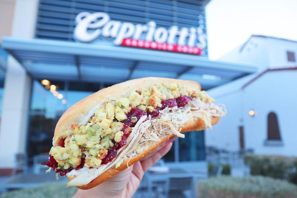 "<p><strong>Thanksgiving Sub </strong><br><br>The easiest way to describe this sandwich is taking all of the fixings of Thanksgiving dinner and putting it into a sub. Invented by Delaware's <a href=""https://www.capriottis.com/"" rel=""nofollow noopener"" target=""_blank"" data-ylk=""slk:Capriotti's Sandwich Shop"" class=""link rapid-noclick-resp"">Capriotti's Sandwich Shop</a> more than 40 years ago, it's made with house-roasted turkey, stuffing, cranberry sauce and mayo. It's a personal favorite by Joe Biden.</p>"