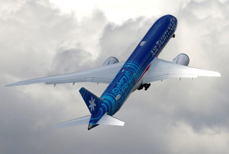 FILE PHOTO: A Boeing 787-9 Dreamliner of Air Tahiti Nui company performs during the 53rd International Paris Air Show at Le Bourget Airport near Paris
