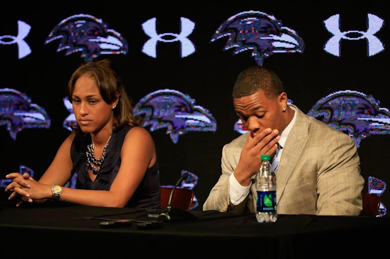 Running back Ray Rice of the Baltimore Ravens pauses while addressing a news conference with his wife Janay at the Ravens training center on May 23, 2014 in Owings Mills, Maryland