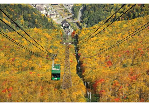 The ropeway leading to Mount Kuro from Sounkyo Onsen