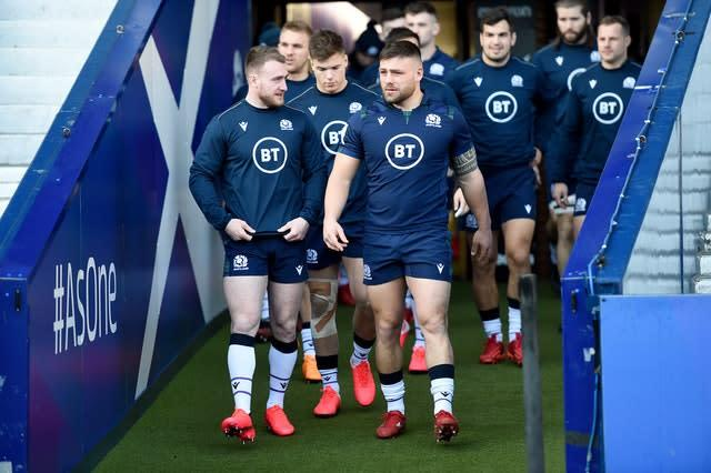 Rory Sutherland (front right) was an outstanding performer for Scotland in the Six Nations (Ian Rutherford/PA)