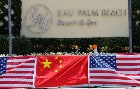 A sign for the Eau Palm Beach Resort and Spa where President of China Xi Jinping will stay is shown in Manalapan, Florida U.S., April 5, 2017. U.S. President Donald Trump will meet with Xi Jinping on April 6 and 7 at his nearby Mar-a-Lago estate.  REUTERS/Joe Skipper