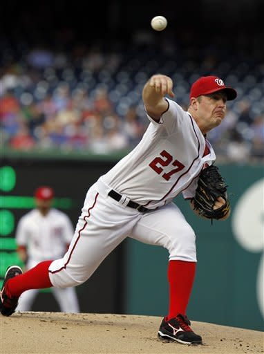 Washington Nationals starting pitcher Jordan Zimmermann throws during the first inning of a baseball game against the New York Mets, Tuesday, June 5, 2012, in Washington. (AP Photo/Alex Brandon)
