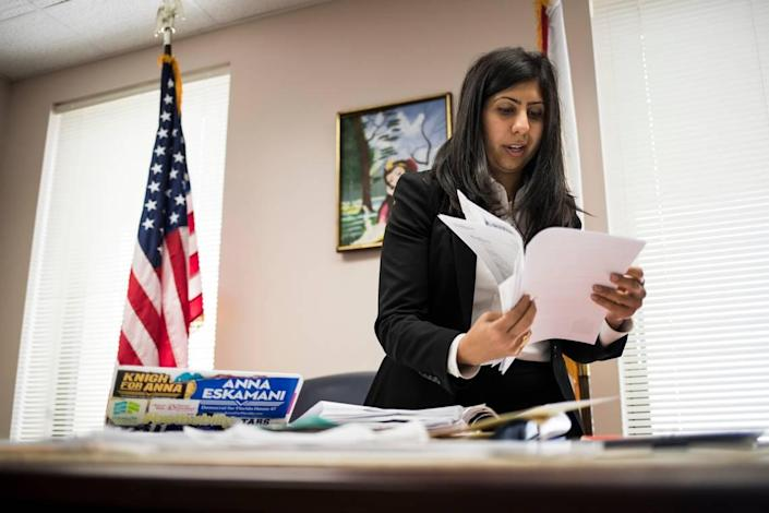 Rep. Anna Eskamani prepares for session in her office at the Florida State Capitol on April 3, 2019, in Tallahassee.