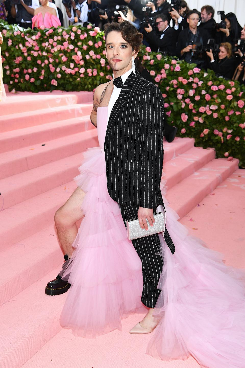 Actor Michael Urie pushed the boundaries of the theme, arriving in an ensemble that featured both a suit and dress. Photo: Getty Images