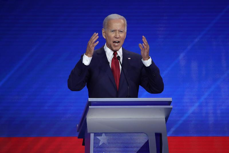 Democratic presidential candidate former Vice President Joe Biden speaks during the Democratic Presidential Debate at Texas Southern University's Health and PE Center on September 12, 2019 in Houston, Texas. | Win McNamee—Getty Images
