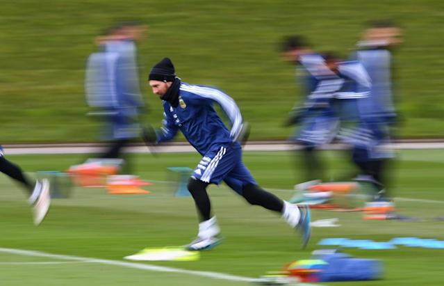 Lionel Messi trains at Manchester City ahead of Argentina vs Italy friendly