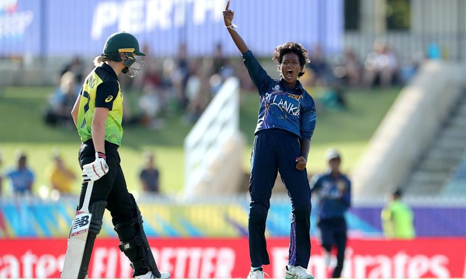 Kavisha Dilhari of Sri Lanka unsuccessfully appeals for the wicket of Rachael Haynes of Australia during the Women's T20 World Cup cricket match between Australia and Sri Lanka at the WACA Ground in Perth, Monday, February 24, 2020.
