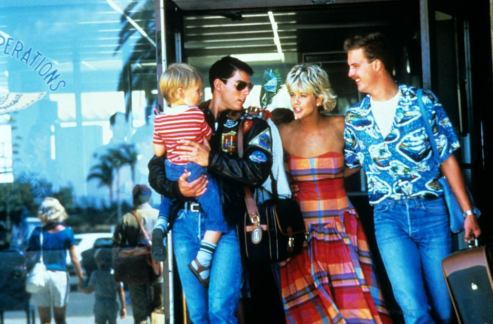 Cruise, Meg Ryan and Edwards in the happy moments prior to Goose's death in 'Top Gun' (Photo: Paramount/Courtesy Everett Collection / Everett Collection)