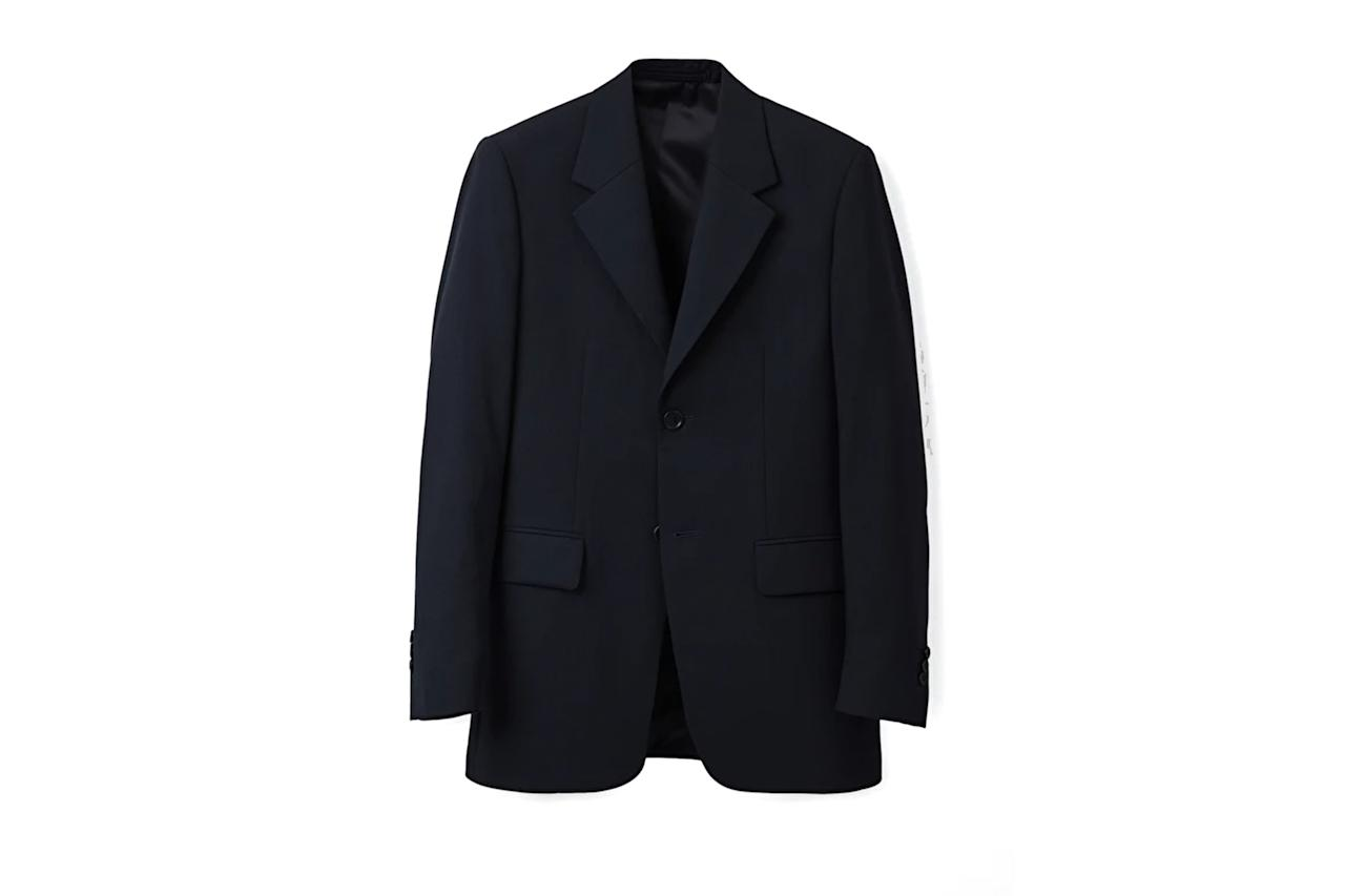 """$285, COS. <a href=""""https://www.cosstores.com/en_usd/men/menswear/coats-and-jackets/product.long-blazer-with-wide-lapels-blue.0764107001.html"""">Get it now!</a>"""