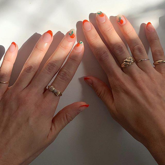 """<p>These citrus-inspired nails are as sweet as it gets. <a href=""""https://www.goodhousekeeping.com/beauty/nails/g2538/summer-nail-art-ideas/"""" rel=""""nofollow noopener"""" target=""""_blank"""" data-ylk=""""slk:Nail art"""" class=""""link rapid-noclick-resp"""">Nail art </a>might look intimidating, but with the right tools, a simple design like this can be super easy — just draw a circle with orange polish, then make two thin dashes with green for leaves, and add a small dollop of white in the middle for more dimension.</p><p><a class=""""link rapid-noclick-resp"""" href=""""https://go.redirectingat.com?id=74968X1596630&url=https%3A%2F%2Fwww.ulta.com%2Fnail-art-tool-kit%3FproductId%3DxlsImpprod5190147&sref=https%3A%2F%2Fwww.goodhousekeeping.com%2Fbeauty%2Fnails%2Fg1267%2Ffrench-manicure-ideas%2F"""" rel=""""nofollow noopener"""" target=""""_blank"""" data-ylk=""""slk:SHOP NAIL ART TOOLS"""">SHOP NAIL ART TOOLS</a></p><p><a href=""""https://www.instagram.com/p/B9kWMUuBtsX/&hidecaption=true"""" rel=""""nofollow noopener"""" target=""""_blank"""" data-ylk=""""slk:See the original post on Instagram"""" class=""""link rapid-noclick-resp"""">See the original post on Instagram</a></p>"""