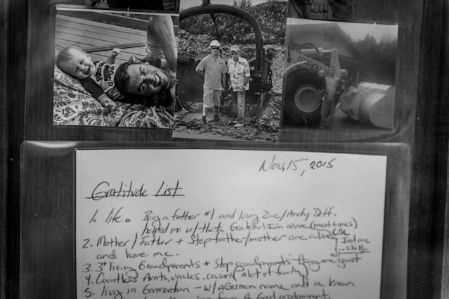 """<p>The day that Daniel Weidle's Vivitrol prescription ran out, he wrote this gratitude list: """"Grateful Im alive,"""" reads the first bullet. (Photograph by Mary F. Calvert for Yahoo News) </p>"""