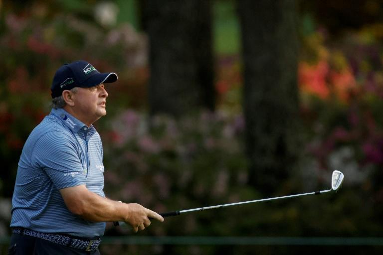 Veteran Ian Woosnam, hobbling on one leg, during the first round at Augusta, where his 76 matched Bryson DeChambeau