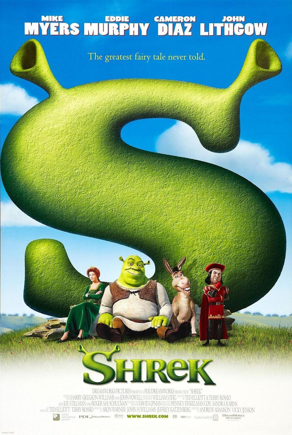 <p>Loosely based on the book Shrek! by William Steig, this runaway hit premiered on April 22, 2001 and fairy tales haven't been the same since. Who could have guessed that an Ogre (voiced by Mike Meyers), a donkey (voiced by Eddie Murphy) and a Princess (voiced by Cameron Diaz) would turn into an entire franchise? A new installment is rumored to be coming out next year. </p>