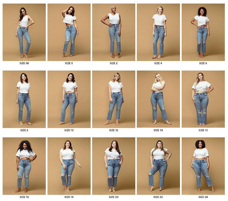 Good American's new sizing tool shows 15 sizes on 15 different models so customers can find the right style, fit and size. (Photo: Good American)