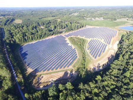 The Apple One 4.9 MW solar project, built by Cypress Creek Renewables, is pictured in Newton, North Carolina, United States in this undated handout photo obtained by Reuters March 28, 2017. Cypress Creek Renewables/Handout via REUTERS