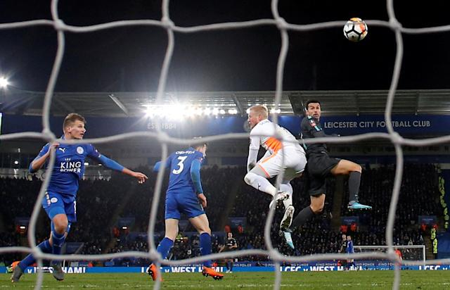 Soccer Football - FA Cup Quarter Final - Leicester City vs Chelsea - King Power Stadium, Leicester, Britain - March 18, 2018 Chelsea's Pedro scores their second goal REUTERS/Andrew Yates TPX IMAGES OF THE DAY