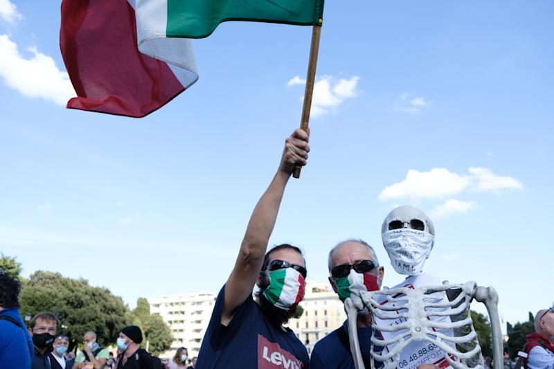 Rome was the site of anti-mask protests on October 10, 2020, in Piazza San Giovanni, even as Italy undergoes a resurgence of coronavirus infections. (Photo by Sirio Tessitore/NurPhoto via Getty Images)