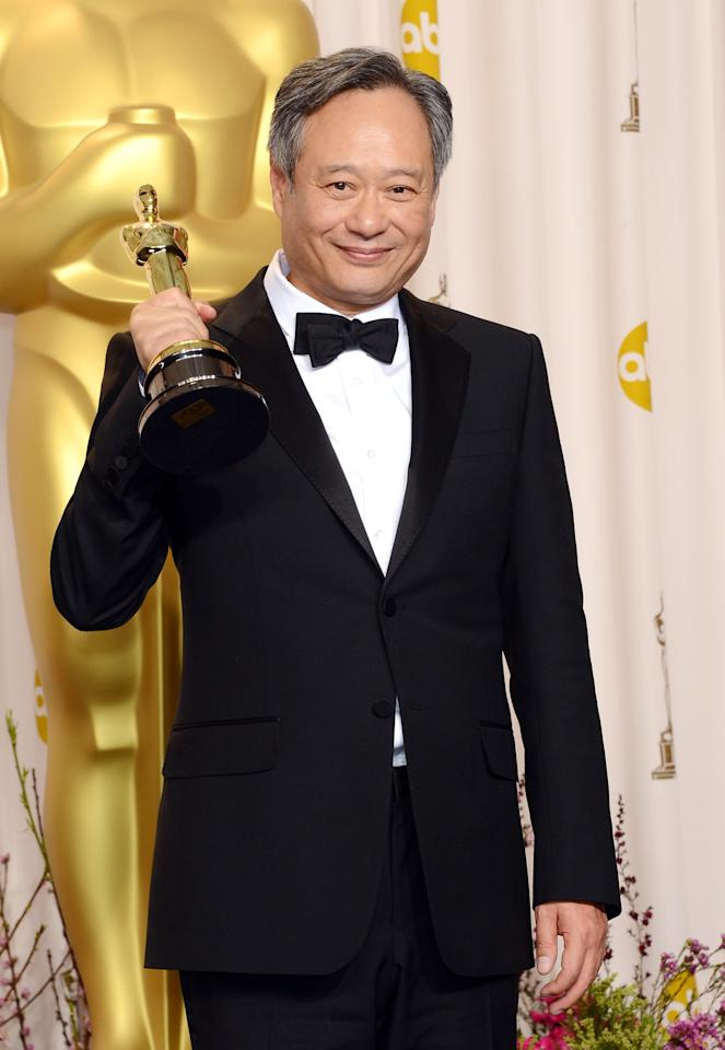 "HOLLYWOOD, CA - FEBRUARY 24:  Director Ang Lee, winner of the Best Director award for ""Life of Pi,"" poses in the press room during the Oscars held at Loews Hollywood Hotel on February 24, 2013 in Hollywood, California.  (Photo by Jason Merritt/Getty Images)"