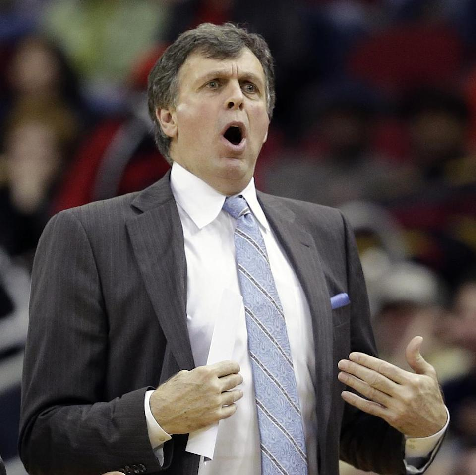 Houston Rockets coach Kevin McHale reacts after being called for a technical foul against the Portland Trail Blazers during the second quarter of an NBA basketball game on Sunday, March 9, 2014, in Houston. (AP Photo/David J. Phillip)