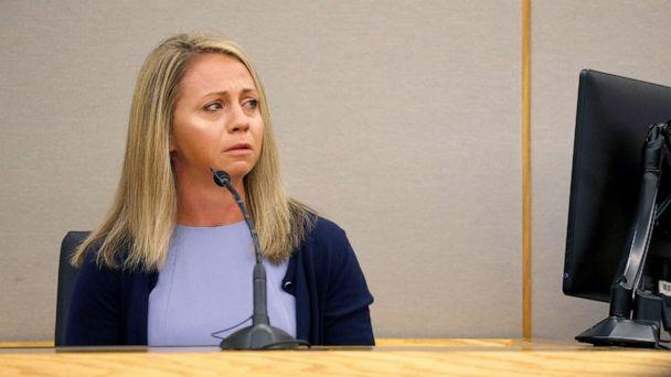 PHOTO: Fired Dallas police officer Amber Guyger becomes emotional as she testifies in her murder trial, Sept. 27, 2019, in Dallas. (Tom Fox/The Dallas Morning News via AP)