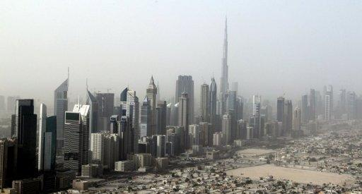 An aerial view taken on May 27, 2012, shows buildings along the Sheikh Zayed Road in Dubai