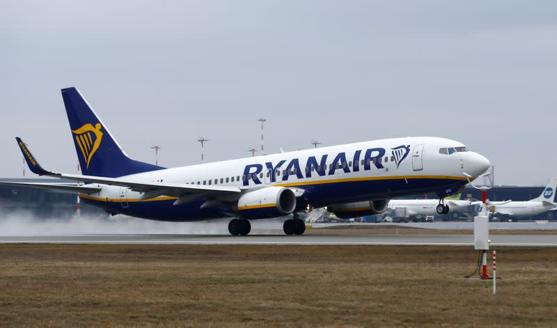 FILE PHOTO: A Ryanair Boeing 737 plane takes off at the Riga International Airport