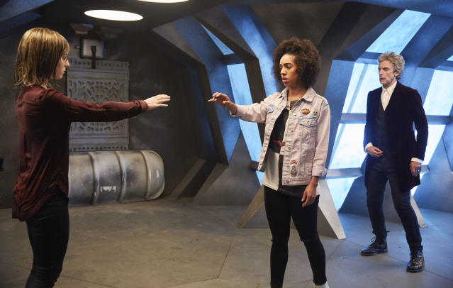 Heather (Stephanie Hyam) seeks to make a connection with Bill in <em>Doctor Who</em>. (Photo: Simon Ridgway/BBC America)