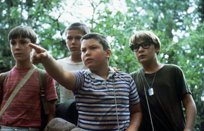 "Wil Wheaton, from left, River Phoenix, Jerry O'Connell and Corey Feldman in ""Stand By Me."""