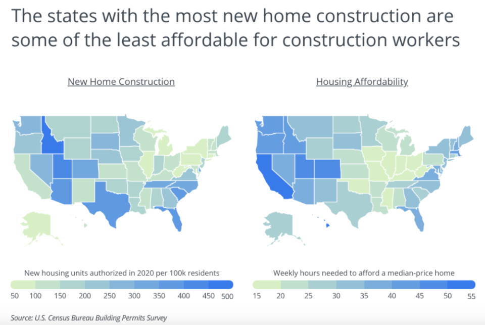 Home affordability map for construction workers. Graph by Porch.com.