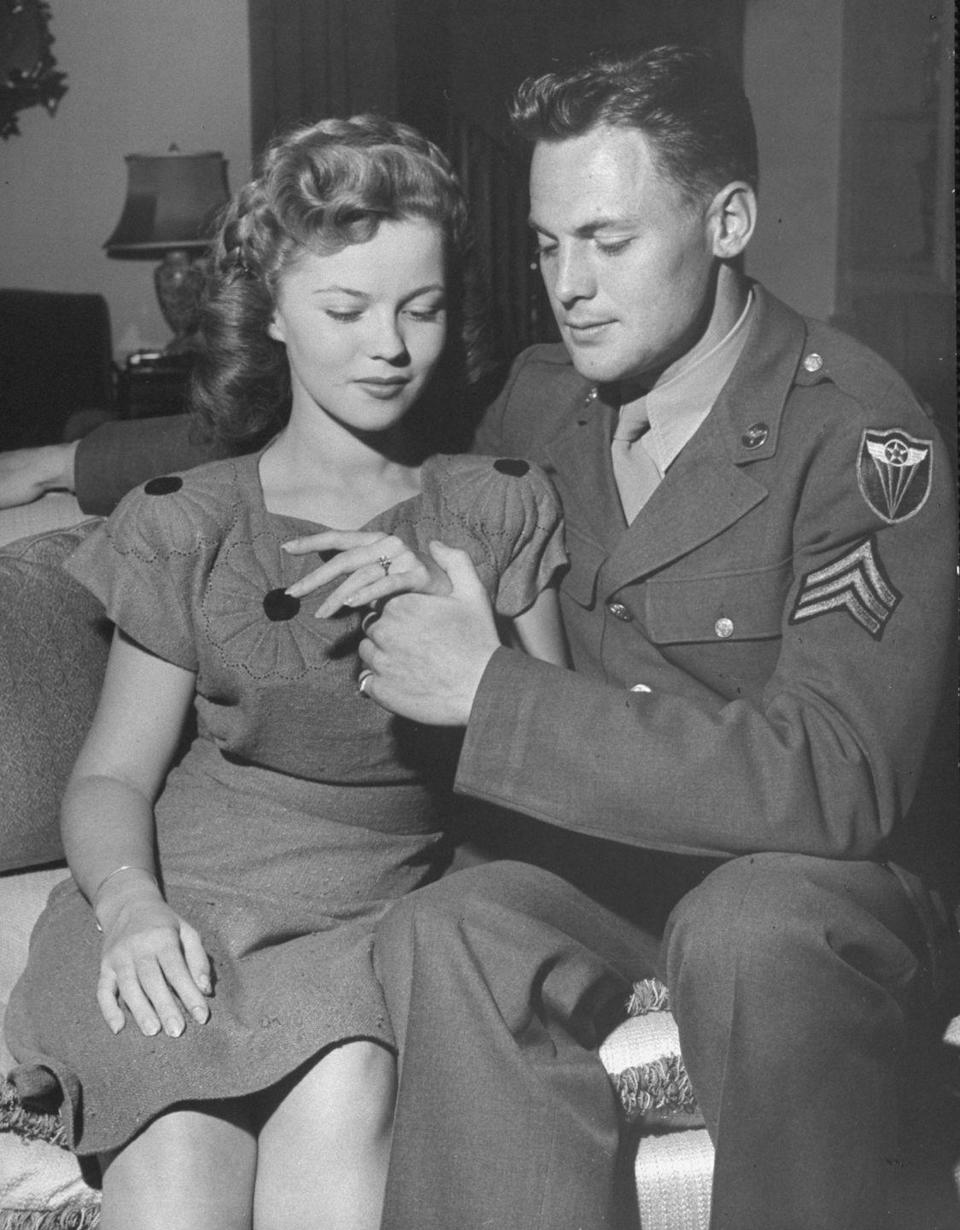 """<p>In 1945, Shirley announced her engagement to Sergeant Jack Agar. The couple<a href=""""https://www.biography.com/actor/shirley-temple"""" rel=""""nofollow noopener"""" target=""""_blank"""" data-ylk=""""slk:met when the actress was 15 years old"""" class=""""link rapid-noclick-resp""""> met when the actress was 15 years old</a>, but waited until she turned 17 to announce their impending nuptials. </p>"""
