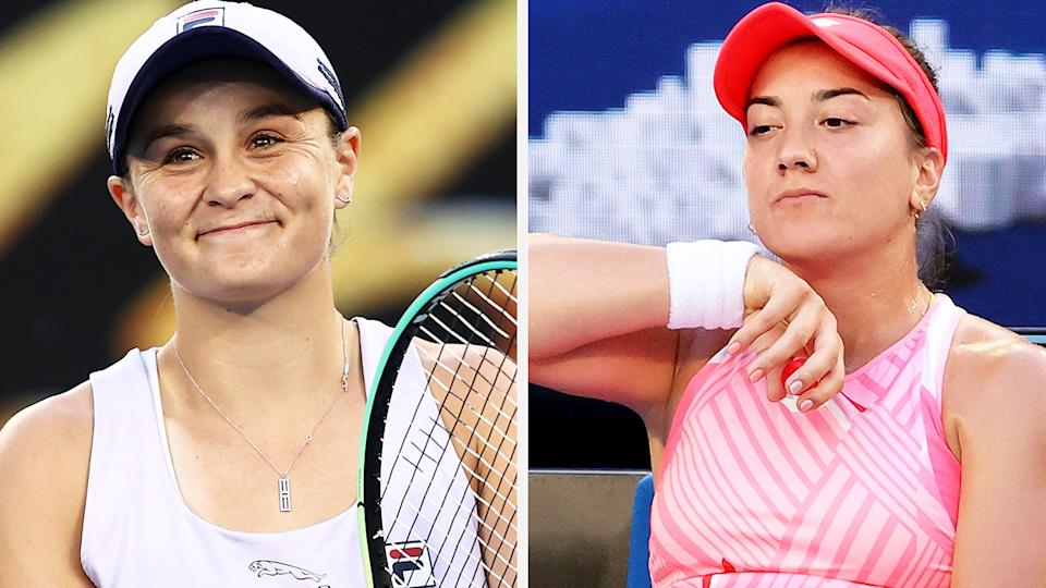 Ash Barty's 44-minute, straight sets demolition of Danka Kovinic was a brutal way to exit the Australian Open - but a $100,000 cheque eases the pain. Pictures: Getty Images