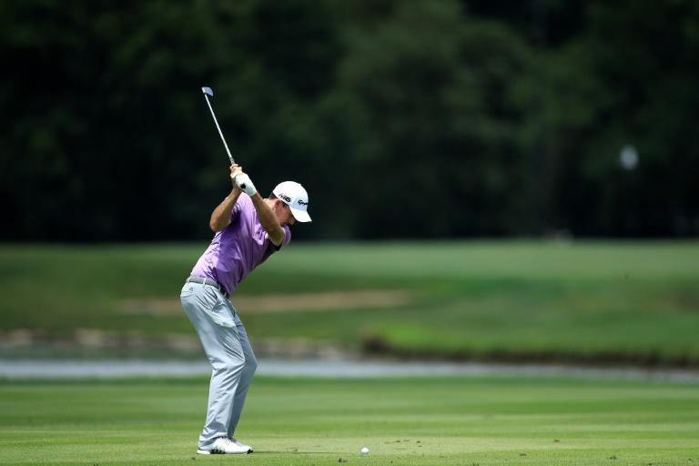 Canada's Nick Taylor hits his second shot on the eighth hole during the first round of the Barbasol Championship