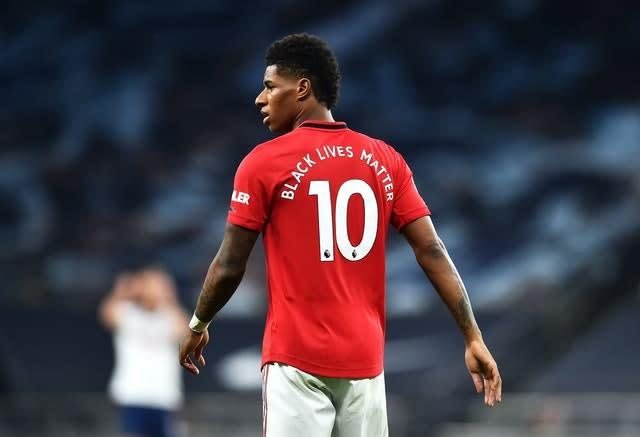Marcus Rashford, pictured, toiled away in north London as Manchester United forced a 1-1 draw at Tottenham (Glyn Kirk/NMC Pool)