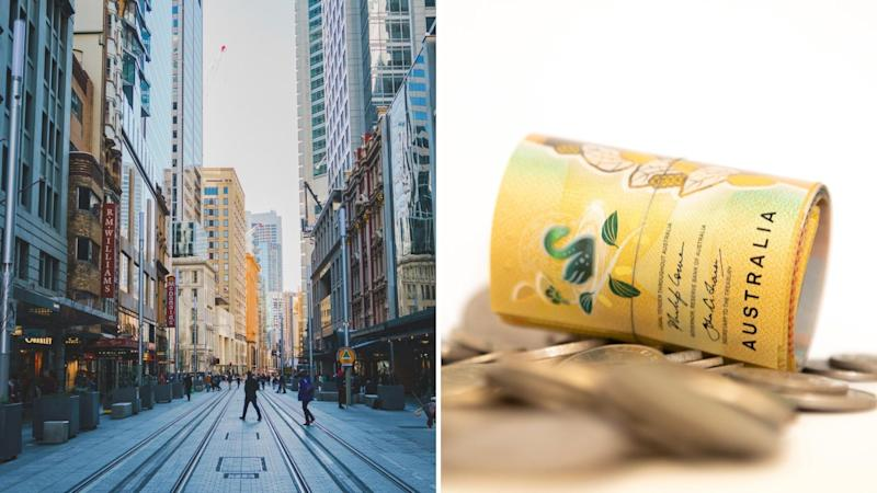 Pictured: Australian CBD, Australian cash. Images: Getty