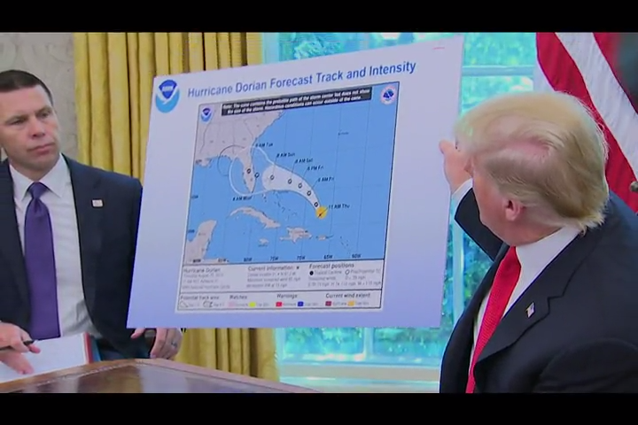 President Donald Trump argues that Alabama was in the forecast path of Hurricane Dorian when he tweeted his warning.