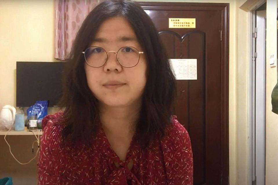 An undated video of citizen journalist Zhang Zhan, who was sentenced to four years in prison in December. Photo: YouTube via AFP