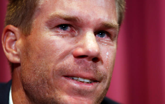 Warner cries in his first press conference on arrival in Australia (AP Photo/Daniel Munoz, File)