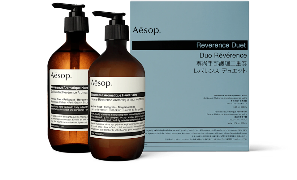 """<h2>Aesop Reverence Duet</h2><br>""""Would I have spent this much money on myself previously? Yes. Would I have spent this much money on hand soap? Definitely not. We're at home more often than not, and the constant washing has made me DRY. This duo of <em>fancy-schmancy</em> Aesop products replenishes my hands, scrubs them properly (with finely milled pumice), and then moisturizing and softens with the balm. The scent is a woodsiness that is otherworldly — and I'm convinced it's money well spent on quality ingredients. Plus it's pleasing to look at on my bathroom shelf and I do care about the aesthetics."""" – <em><a href=""""https://instagram.com/cortnebonilla"""" rel=""""nofollow noopener"""" target=""""_blank"""" data-ylk=""""slk:Cortne Bonilla"""" class=""""link rapid-noclick-resp"""">Cortne Bonilla</a>, Lifestyle Writer </em><br><br><em>Shop <strong><a href=""""https://fave.co/3grz2OH"""" rel=""""nofollow noopener"""" target=""""_blank"""" data-ylk=""""slk:Aesop"""" class=""""link rapid-noclick-resp"""">Aesop</a></strong> </em><br><br><strong>Aesop</strong> Reverence Duet, $, available at <a href=""""https://go.skimresources.com/?id=30283X879131&url=https%3A%2F%2Fwww.aesop.com%2Fus%2Fp%2Fkits-travel%2Fhand-body%2Freverence-duet%2F"""" rel=""""nofollow noopener"""" target=""""_blank"""" data-ylk=""""slk:Aesop"""" class=""""link rapid-noclick-resp"""">Aesop</a>"""