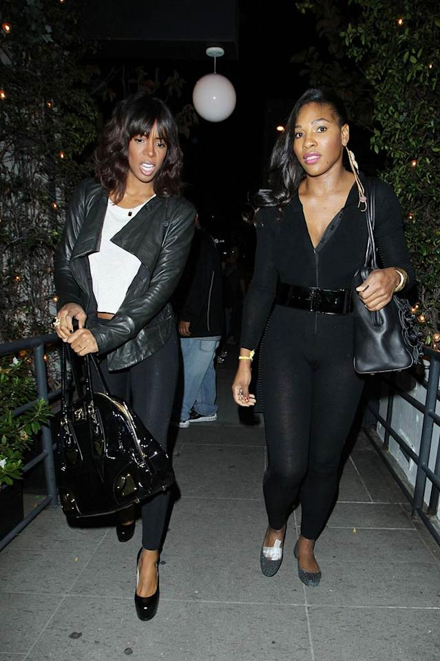 """Serena Williams, who came with Kelly Rowland, looked to be on the mend after her recent health scare. The tennis ace, who has been dealing with a foot injury since last July, suffered a pulmonary embolism last month that traveled to her lung. In a recent interview with <i>USA Today</i>, William admitted her injuries had left her feeling pretty depressed. """"I don't know if I've had my share of drama, but I've definitely had my share of hard times,"""" said Williams, adding, """"What's going to make me happy is going on the court and holding up trophies, singles and doubles."""" Hellmuth Dominguez/<a href=""""http://www.pacificcoastnews.com/"""" target=""""new"""">PacificCoastNews.com</a> - March 15, 2011"""