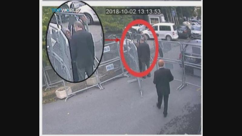This image taken from CCTV video obtained by the Turkish broadcaster TRT World shows Saudi journalist Jamal Khashoggi talking to his fiancée Hatice Cengiz before entering the Saudi consulate in Istanbul on Tuesday, Oct. 2, 2018. (ASSOCIATED PRESS)