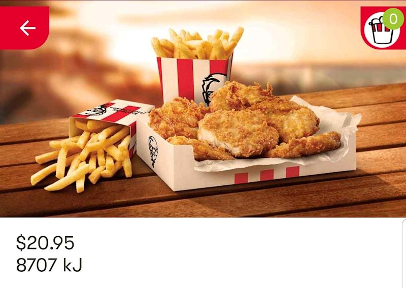KFC fillets dinner box available in the app.