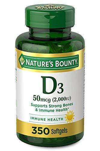 """<p><strong>Nature's Bounty</strong></p><p>amazon.com</p><p><strong>$11.22</strong></p><p><a href=""""https://www.amazon.com/dp/B00DYSUQEA?tag=syn-yahoo-20&ascsubtag=%5Bartid%7C2141.g.35686472%5Bsrc%7Cyahoo-us"""" rel=""""nofollow noopener"""" target=""""_blank"""" data-ylk=""""slk:Shop Now"""" class=""""link rapid-noclick-resp"""">Shop Now</a></p><p>Here's a simple, straightforward USP-verified soft gel that delivers 2,000 IU of vitamin D in a single daily dose. They're a good choice for folks with food allergies or intolerances, since they're free of milk, lactose, wheat, gluten, and fish. Another bonus? A single bottle will last you nearly a full year.</p>"""