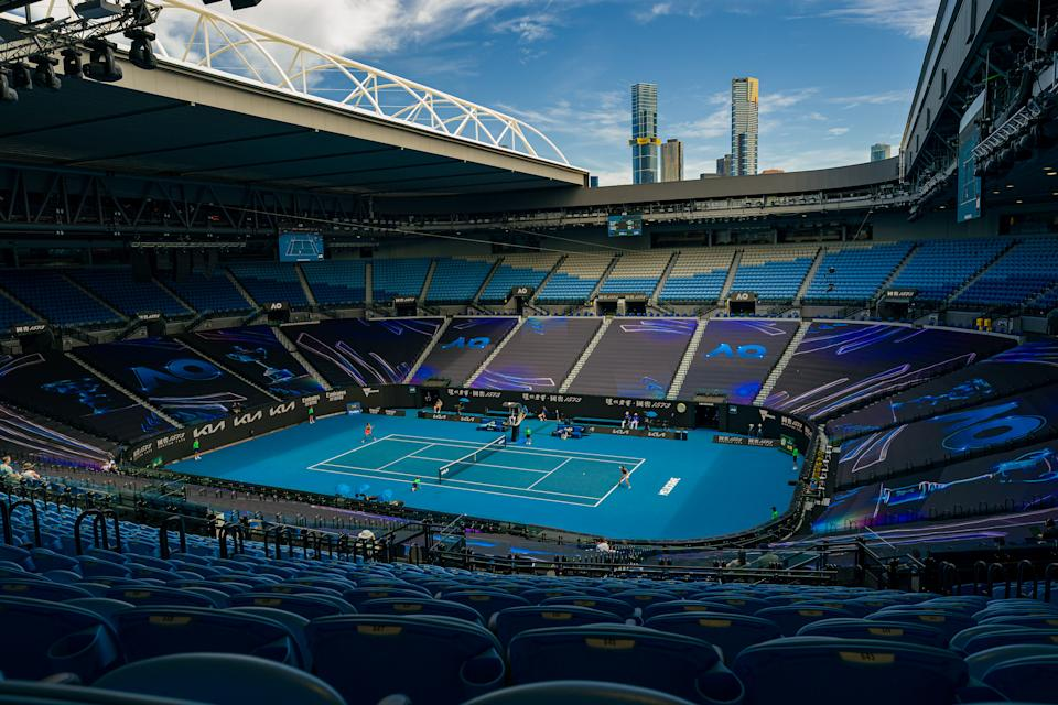 MELBOURNE, AUSTRALIA - FEBRUARY 16: A general view of Rod Laver Arena while Su-Wei Hsieh of Chinese Taipei plays a backhand in her Women's Singles Quarterfinals match against Naomi Osaka of Japan during day nine of the 2021 Australian Open at Melbourne Park on February 16, 2021 in Melbourne, Australia. (Photo by Andy Cheung/Getty Images)