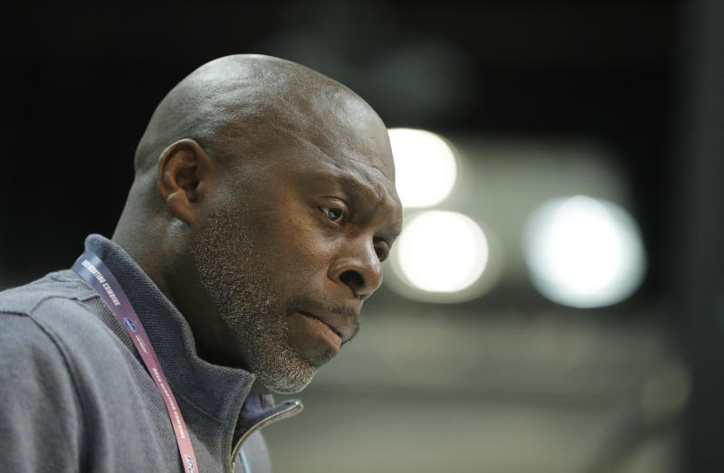 Los Angeles Chargers head coach Anthony Lynn speaks during a press conference at the NFL football scouting combine, Thursday, Feb. 28, 2019, in Indianapolis. (AP Photo/Darron Cummings)